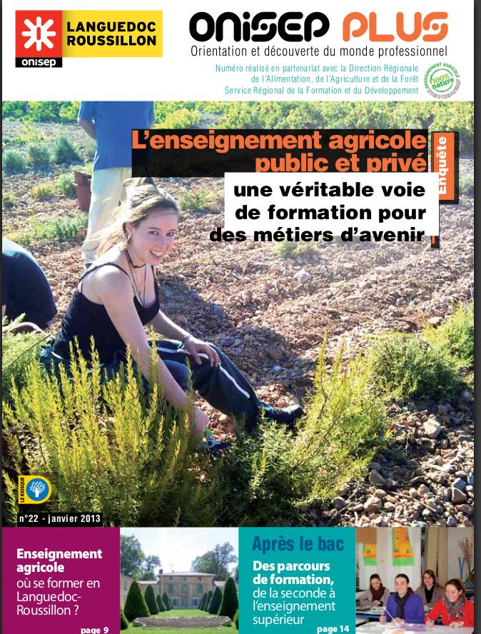 Nouveau guide de l'ONISEP, les formations agricoles en Languedoc Roussillon