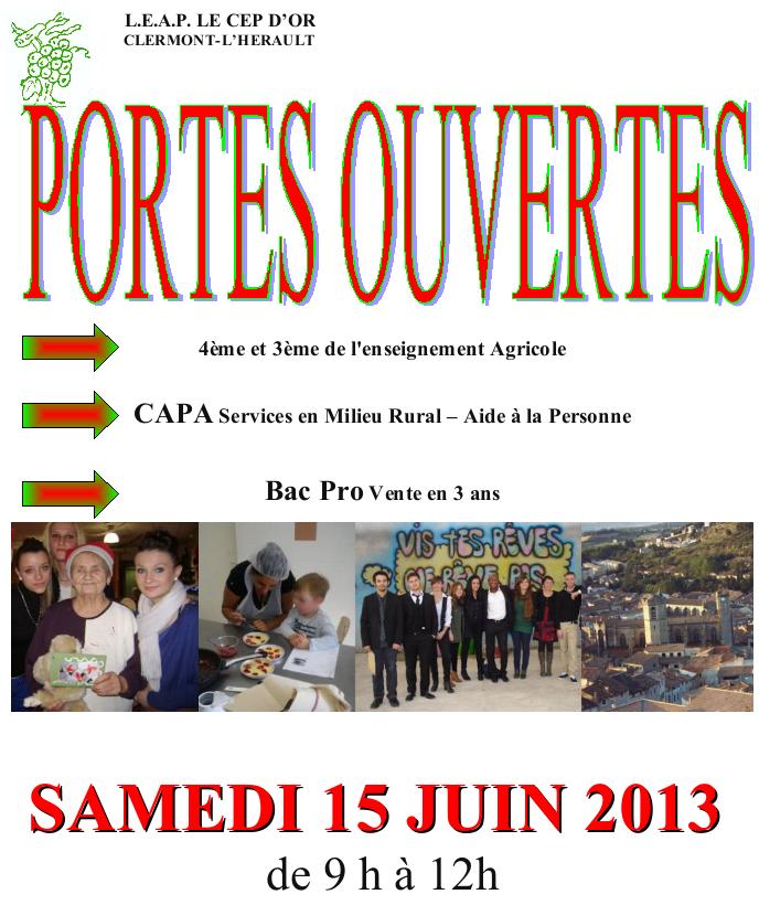 Portes ouvertes le 15 juin 2013